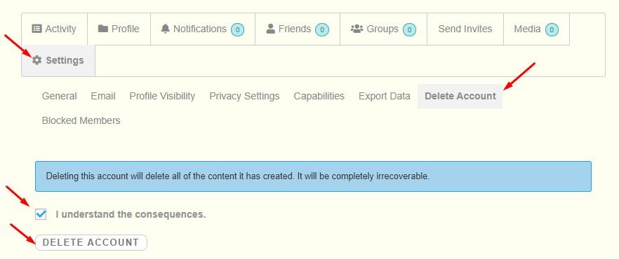 Delete account on ConnectPals