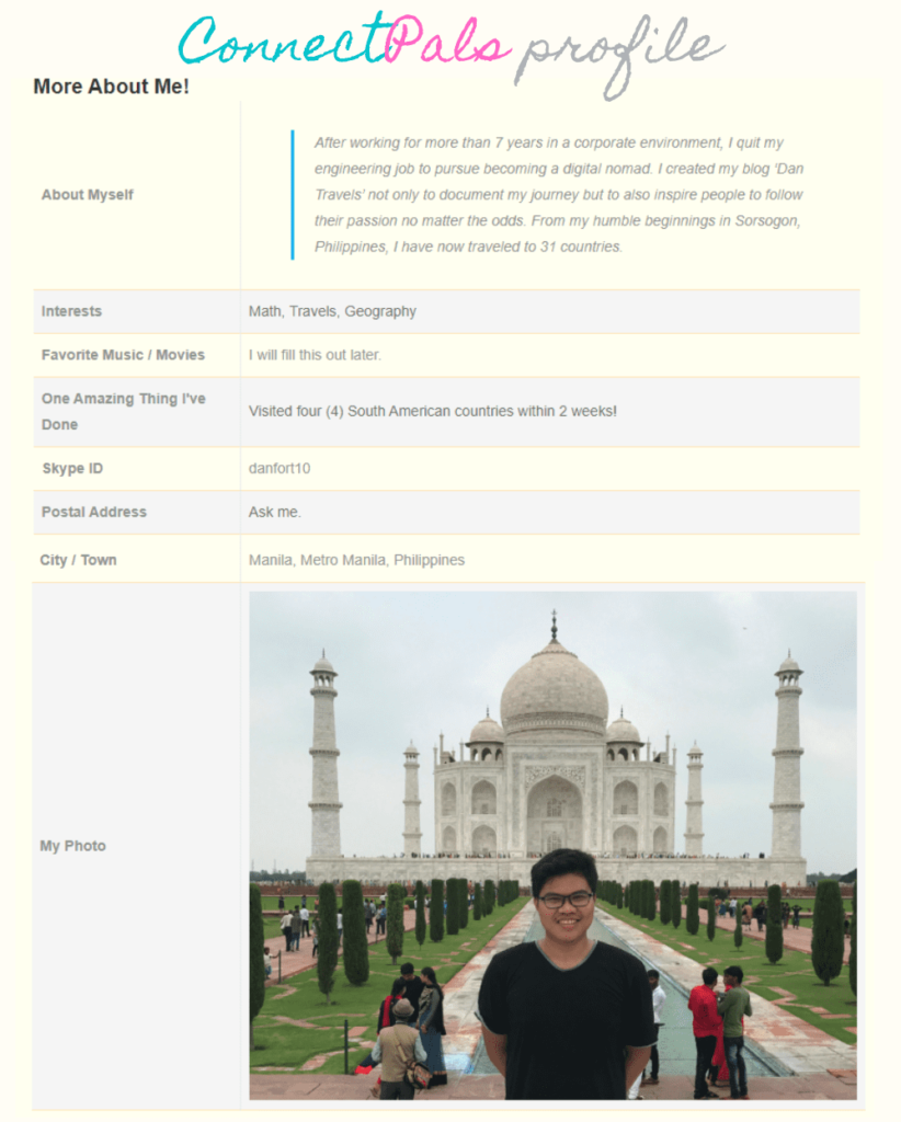 ConnectPals profile (more about me tab sample)