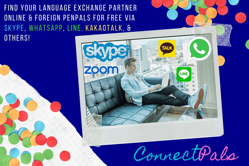 find language partners online free skype, whatsapp, kakaotalk or line