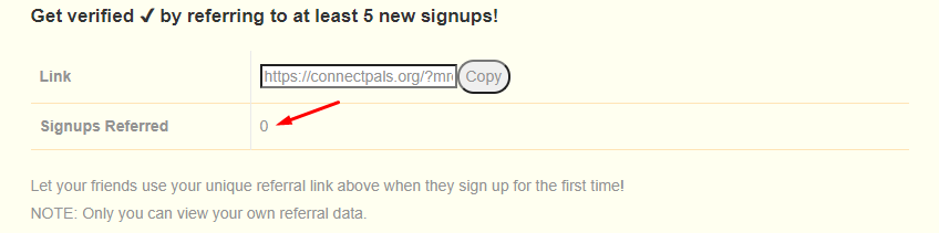 Referral Signups in ConnectPals