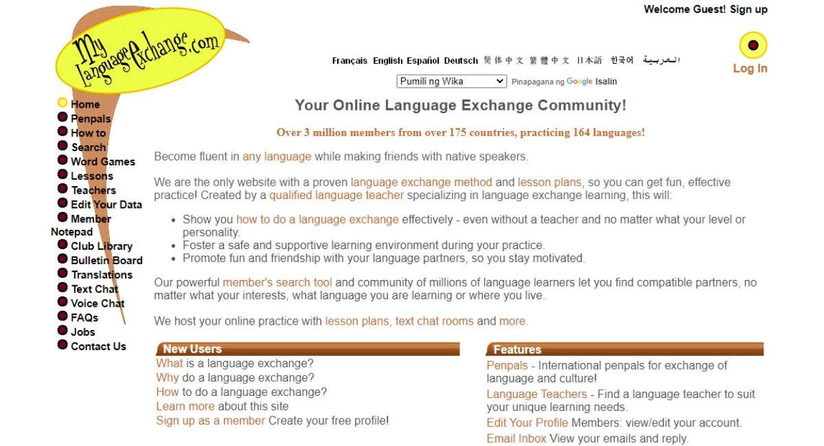 my language exchange website